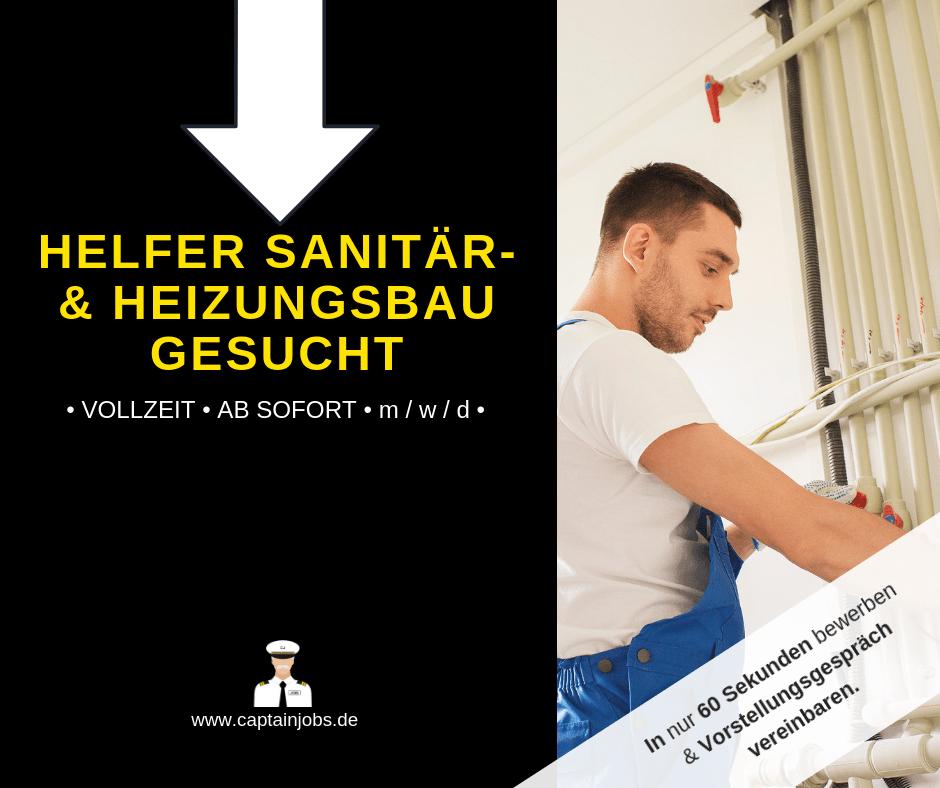Helfer Sanitär und Heizungsbau - Heizungs-Sanitärhelfer (m/w/d) in Bamberg gesucht